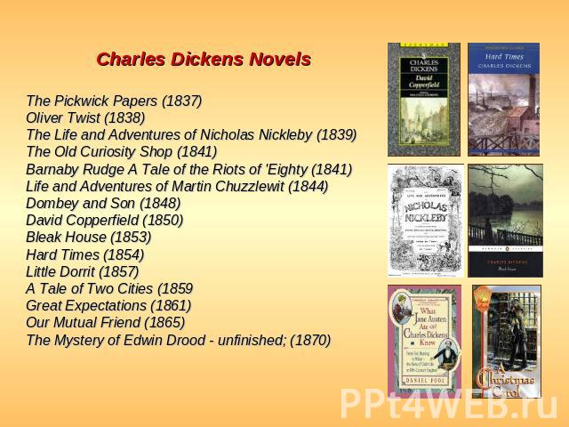 Charles Dickens Novels The Pickwick Papers (1837)Oliver Twist (1838)The Life and Adventures of Nicholas Nickleby (1839)The Old Curiosity Shop (1841)Barnaby Rudge A Tale of the Riots of 'Eighty (1841)Life and Adventures of Martin Chuzzlewit (1844)Dom…