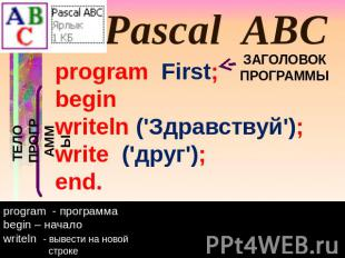 Pascal ABC program First; begin writeln ('Здравствуй'); write ('друг'); end. ТЕЛ