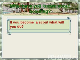 What have you known about Scouting? If you become a scout what will you do?