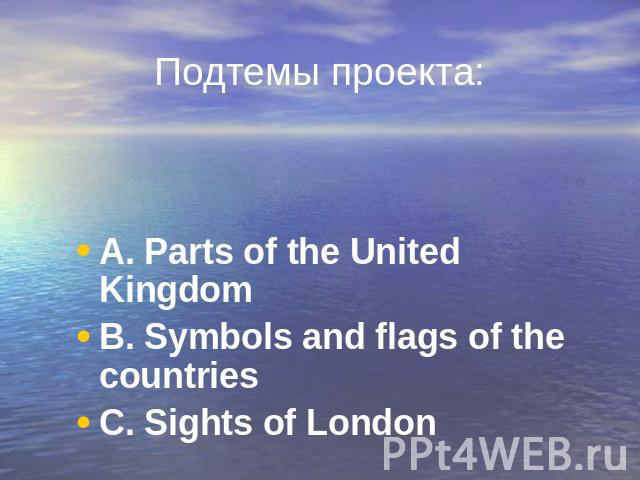 Подтемы проекта: A. Parts of the United Kingdom A. Parts of the United Kingdom B. Symbols and flags of the countries C. Sights of London