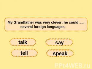My Grandfather was very clever; he could ..... several foreign languages.