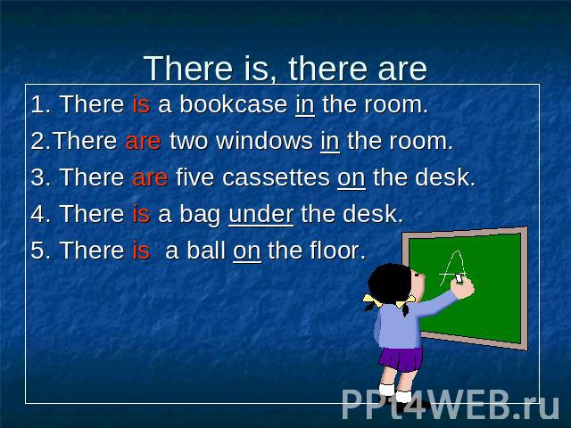 1. There is a bookcase in the room. 1. There is a bookcase in the room. 2.There are two windows in the room. 3. There are five cassettes on the desk. 4. There is a bag under the desk. 5. There is a ball on the floor.