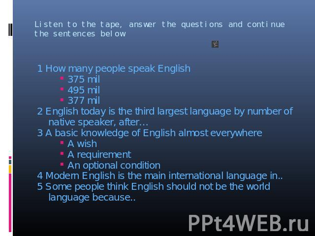 1 How many people speak English 1 How many people speak English 375 mil 495 mil 377 mil 2 English today is the third largest language by number of native speaker, after… 3 A basic knowledge of English almost everywhere A wish A requirement An option…