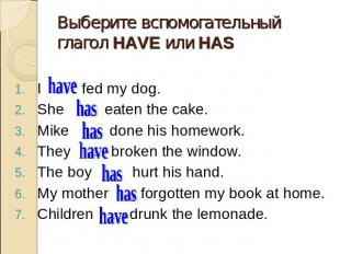 Выберите вспомогательный глагол HAVE или HAS I … fed my dog. I … fed my dog. She