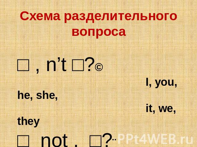 Схема разделительного вопроса □ , n't □?↘ I, you, he, she, it, we, they □ not , □?↗