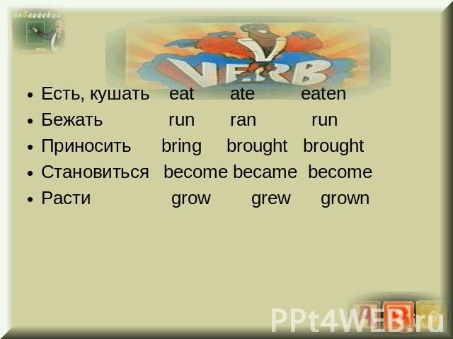 Eсть, кушать eat ate eatenБежать run ran runПриносить bring brought broughtСтановиться become became becomeРасти grow grew grown