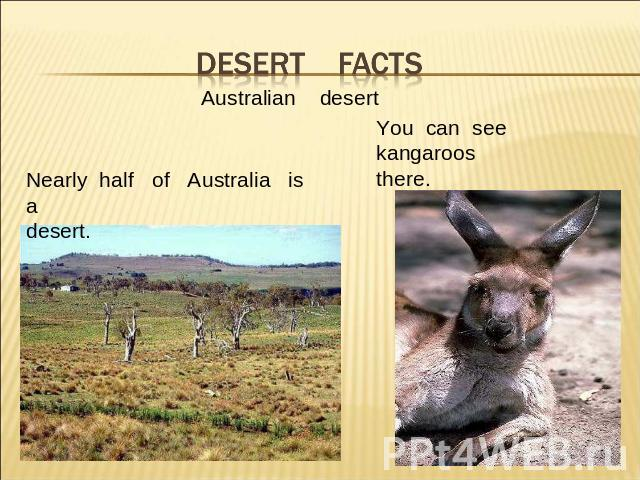 Desert facts Australian desertNearly half of Australia is adesert.You can see kangaroosthere.