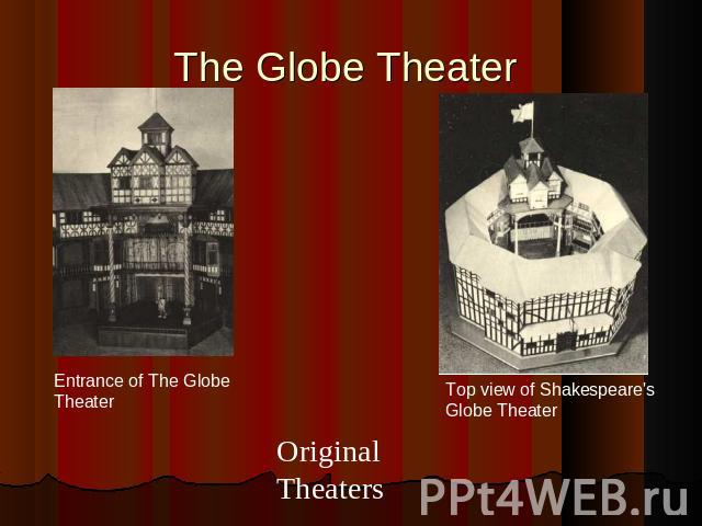The Globe Theater Entrance of The Globe TheaterOriginal Theaters Top view of Shakespeare's Globe Theater