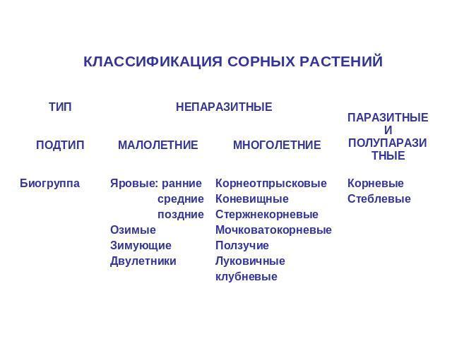 классификация и биологические особенности сорняков