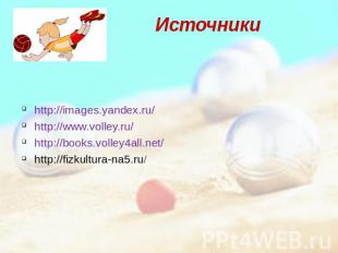 Источники http://images.yandex.ru/ http://www.volley.ru/ http://books.volley4all