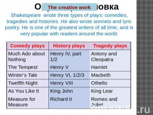 The creative work Shakespeare wrote three types of plays: comedies, tragedies an