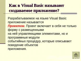 Как в Visual Basic называют создаваемое приложение?Разрабатываемое на языке Visu