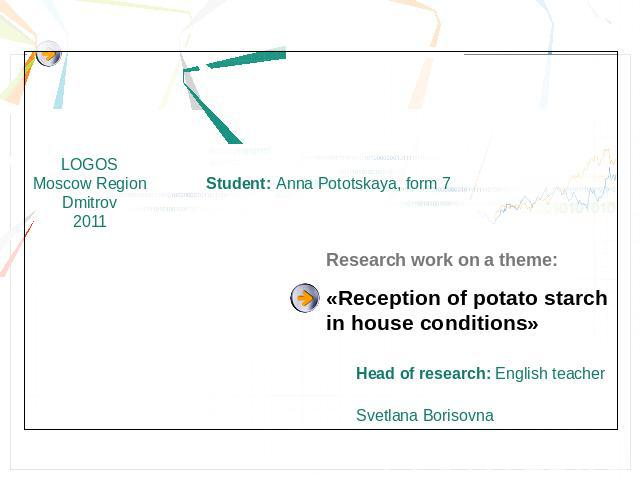 Student: Anna Pototskaya, form 7Research work on a theme:«Reception of potato starch in house conditions»Head of research: English teacher Svetlana Borisovna
