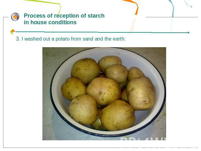 Process of reception of starch in house conditions3. I washed out a potato from sand and the earth: