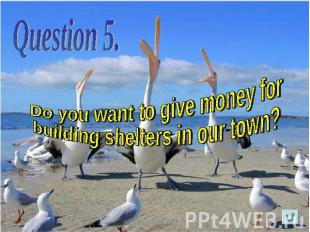 Do you want to give money for building shelters in our town?