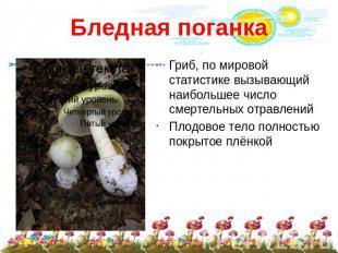 Презентация Ядовитые грибы скачать презентации по ОБЖ слайда 4 Бледная поганка Гриб по мировой статистике вызывающий наибольшее число смертель