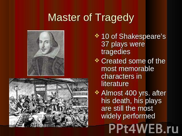 Master of Tragedy 10 of Shakespeare's 37 plays were tragedies Created some of the most memorable characters in literature Almost 400 yrs. after his death, his plays are still the most widely performed