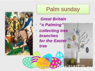 "Palm sunday Great Britain ""a Palming"" сollecting tree branches for the Easter tr"
