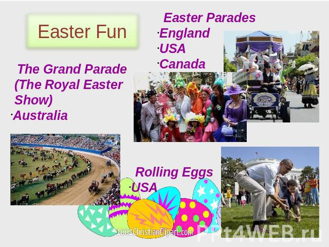 Easter Fun Easter Parades England USA Canada The Grand Parade (The Royal Easter Show) Australia Rolling Eggs USA