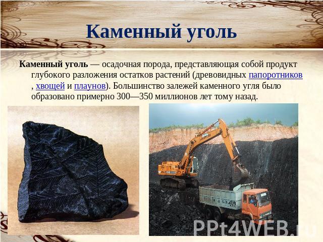 сообщение как образовался каменный уголь достаточно много аптек