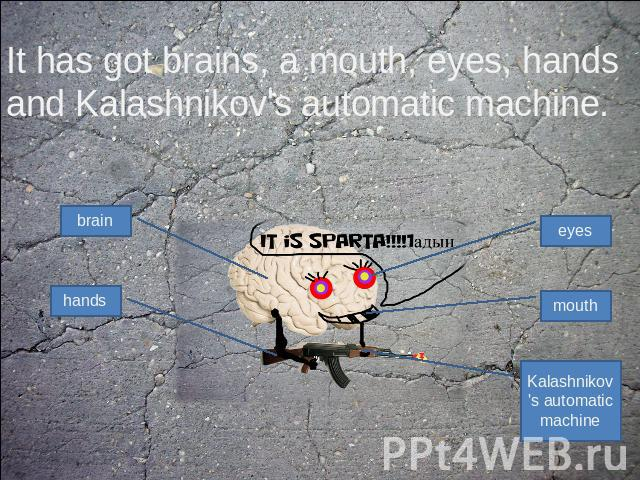 It has got brains, a mouth, eyes, hands and Kalashnikov's automatic machine.