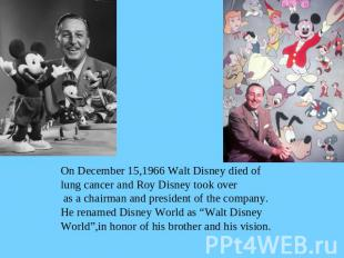 On December 15,1966 Walt Disney died oflung cancer and Roy Disney took over as a