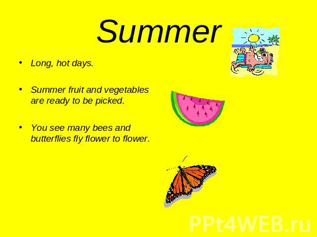 Summer Long, hot days.Summer fruit and vegetables are ready to be picked.You see many bees and butterflies fly flower to flower.