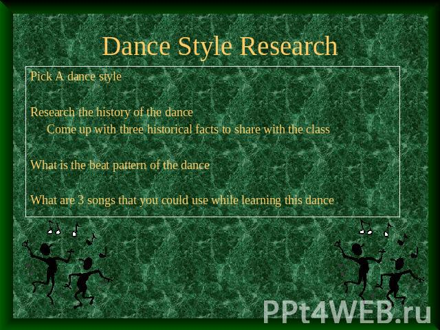 Dance Style Research Pick A dance styleResearch the history of the danceCome up with three historical facts to share with the classWhat is the beat pattern of the danceWhat are 3 songs that you could use while learning this dance