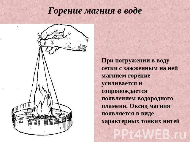 производителей современного реакция магния с водой называется