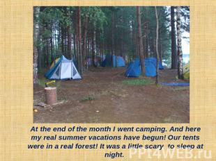 At the end of the month I went camping. And here my real summer vacations have b