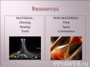 Resources MATERIAL:HousingHeatingTools NON-MATERIAL:TimeSpaceConvenience