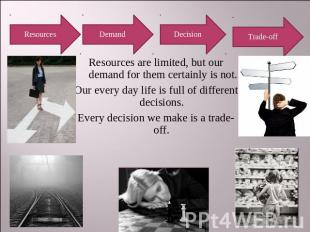 Resources Demand Decision Trade-off Resources are limited, but our demand for th