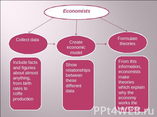 Economists Collect data Include facts and figuries about almost anything, from birth rates to coffe production Create economic model Show relationships between these different data Formulate theories From this information, economists make theories w…