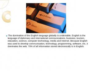 The domination of the English language globally is undeniable. English is the la