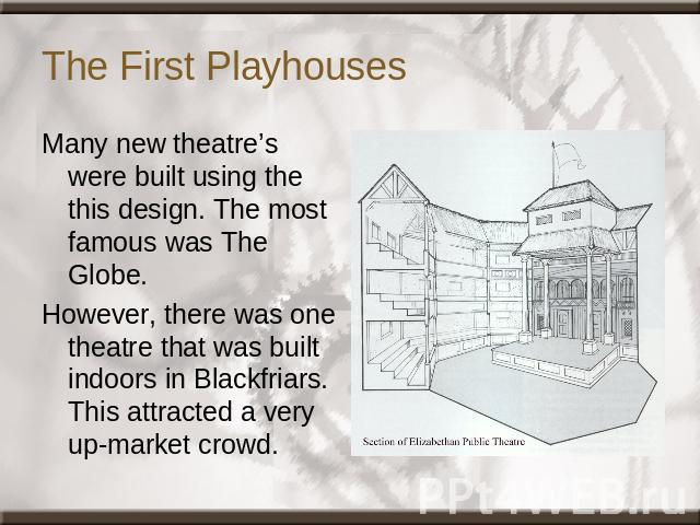 The First Playhouses Many new theatre's were built using the this design. The most famous was The Globe.However, there was one theatre that was built indoors in Blackfriars. This attracted a very up-market crowd.