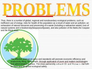 PROBLEMS Thus, there is a number of global, regional and transboundary ecologica