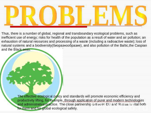 PROBLEMS Thus, there is a number of global, regional and transboundary ecological problems, such as inefficient use of energy; risks for health of the population as a result of water and air pollution; an exhaustion of natural resources and processi…
