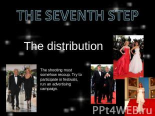 THE SEVENTH STEP The distribution The shooting must somehow recoup. Try to parti