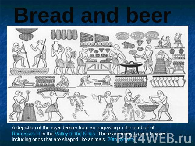 Bread and beer A depiction of the royal bakery from an engraving in the tomb of of Ramesses III in the Valley of the Kings. There are many types of loaves, including ones that are shaped like animals. 20th dynasty.