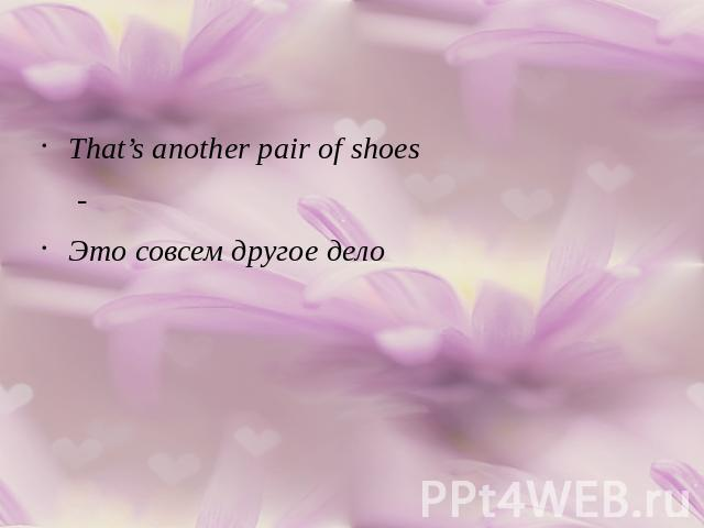 That's another pair of shoes-Это совсем другое дело