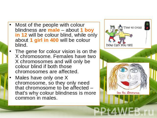 Most of the people with colour blindness are male – about 1 boy in 12 will be colour blind, while only about 1 girl in 400 will be colour blind.The gene for colour vision is on the X chromosome. Females have two X chromosomes and will only be colour…