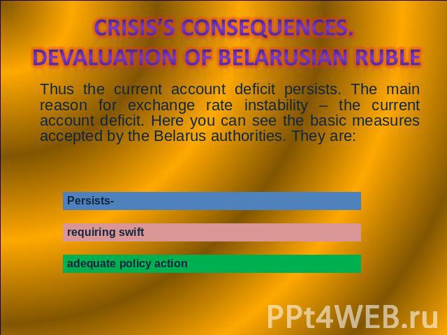 Crisis's consequences. Devaluation of Belarusian Ruble Thus the current account deficit persists. The main reason for exchange rate instability – the current account deficit. Here you can see the basic measures accepted by the Belarus authorities. T…