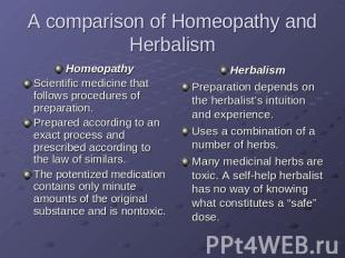 A comparison of Homeopathy and Herbalism HomeopathyScientific medicine that foll