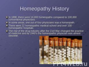 Homeopathy History In 1890, there were 14,000 homeopaths compared to 100,000 con