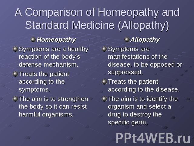 A Comparison of Homeopathy and Standard Medicine (Allopathy) HomeopathySymptoms are a healthy reaction of the body's defense mechanism.Treats the patient according to the symptoms.The aim is to strengthen the body so it can resist harmful organisms.…