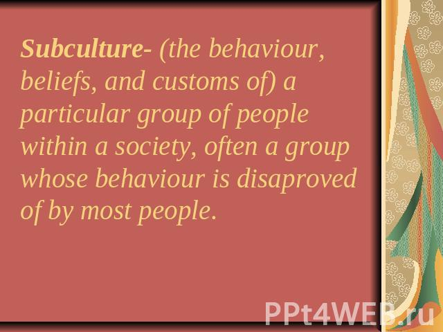 Subculture- (the behaviour, beliefs, and customs of) a particular group of people within a society, often a group whose behaviour is disaproved of by most people.
