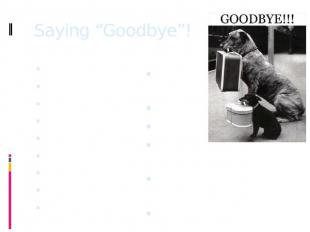 "Saying ""Goodbye""! Bye!Bye for now!Bye – bye!See ya!So long!Ciao!Later!Cheerio!Se"