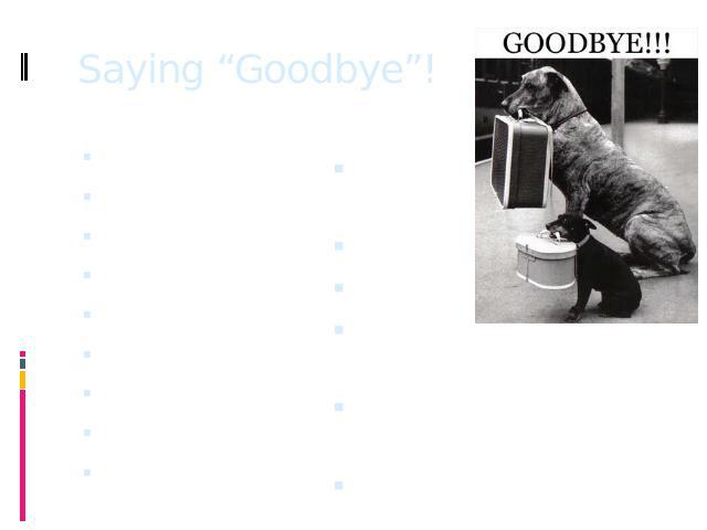"Saying ""Goodbye""! Bye!Bye for now!Bye – bye!See ya!So long!Ciao!Later!Cheerio!See you! See you around!Farwell!Ta – ra!See you againg!Ta – ta for now!Catch you later!Goodbye!"