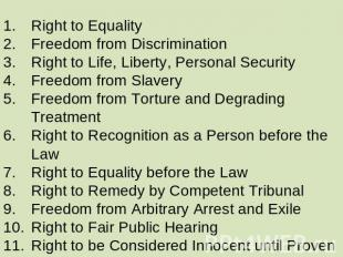 Right to Equality Freedom from Discrimination Right to Life, Liberty, Personal S