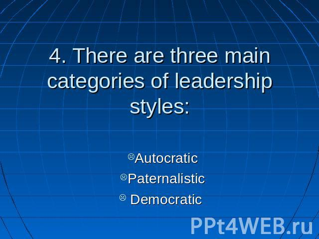 4. There are three main categories of leadership styles: AutocraticPaternalistic Democratic